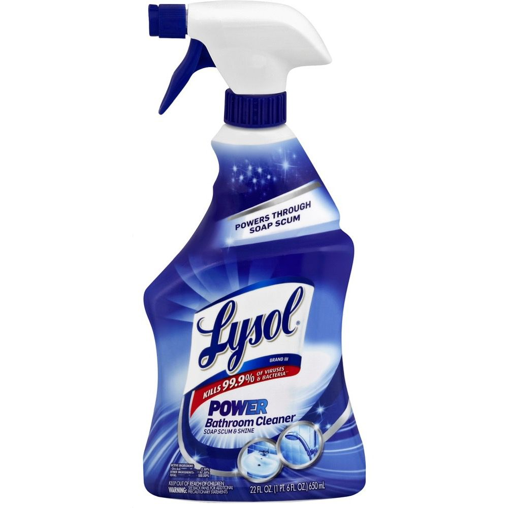 Lysolr power bathroom cleaner remove soap scum lysol for Lysol power bathroom cleaner