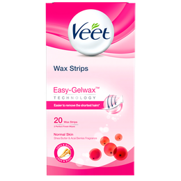 Veet Wax Strips Easy-Gelwax Technology Legs & Body Normal Skin 20 strips