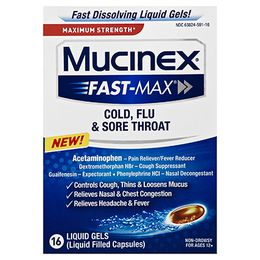Maximum Strength Mucinex® Fast-Max® Cold, Flu and Sore Throat, Liquid Gels