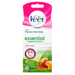 Veet Face Precision Wax Strips Essential Inspirations With Argan Oil wipes 20 strips