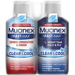 Maximum Strength Mucinex® Fast-Max® Clear & Cool, Day Severe Congestion & Cough & Night Cold & Flu