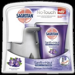 Sagrotan No-Touch Automatischer Seifenspender Silbernes Gerät mit Zarte Veilchenblüte Nachfüller