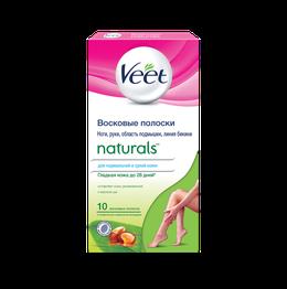 Восковые полоски Veet Naturals с маслом ши с технологией Easy-Gelwax