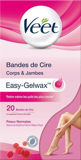 Veet Bandes de Cire Froide Easy-Gelwax Peaux Normales