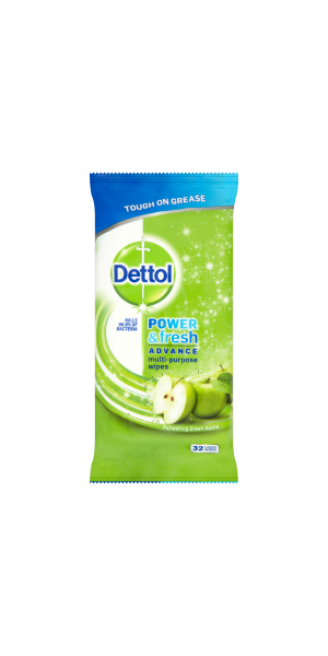 Dettol Power & Fresh Antibacterial Multi-Purpose Green Apple Wipes