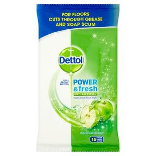 Dettol Power & Fresh Multi Action Floor Wipes - Green Apple
