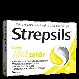 Strepsils Lemon fără zahăr pastile
