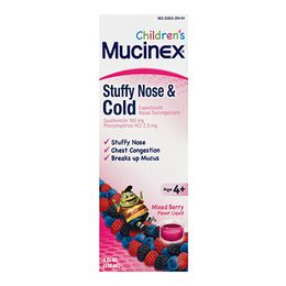 Mucinex® Children's Stuffy Nose & Cold Liquid, Mixed Berry Flavor