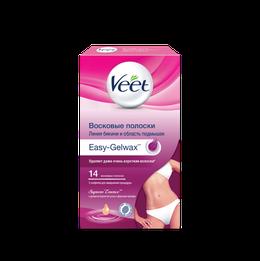 Восковые полоски Veet Suprem' Essence с ароматом бархатной розы и эфирными маслами для линии бикини и области подмышек с технологией Easy-Gelwax