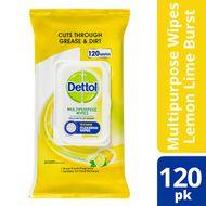Dettol Multipurpose Wipes Lemon Lime Burst 120 pack