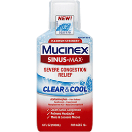 Maximum Strength* MUCINEX® Sinus-Max® Severe Congestion Relief Clear & Cool