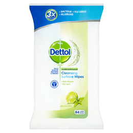 Dettol Antibacterial Cleansing Surface Wipes - Lime & Mint - 84s
