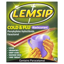 Lemsip Cold + Flu Blackcurrant Hot Drink 10s