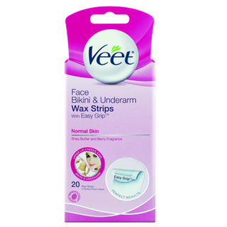 Veet® EasyGrip™ Ready-to-Use Face, Bikini & Underarm Wax Strips For Normal Skin